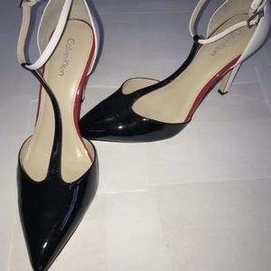 Calvin Klein Red, Black and White strappy heels